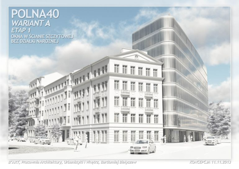 Visualization of the building, which may be built on the Polna Street in Warsaw