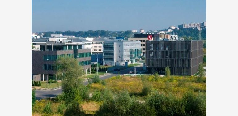 The picture depicts the Kraków Technology Park.