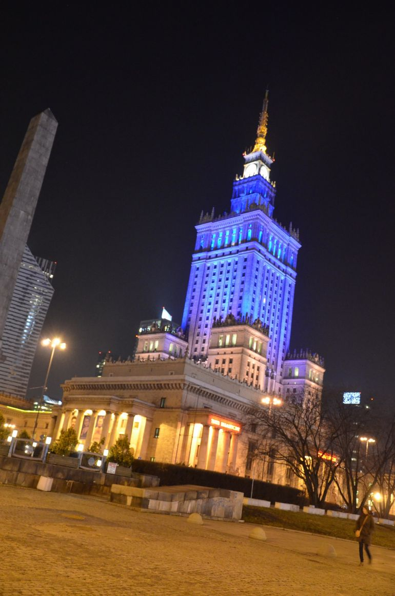 The Palace of Culture and Science in the colours of the Ukrainian flag