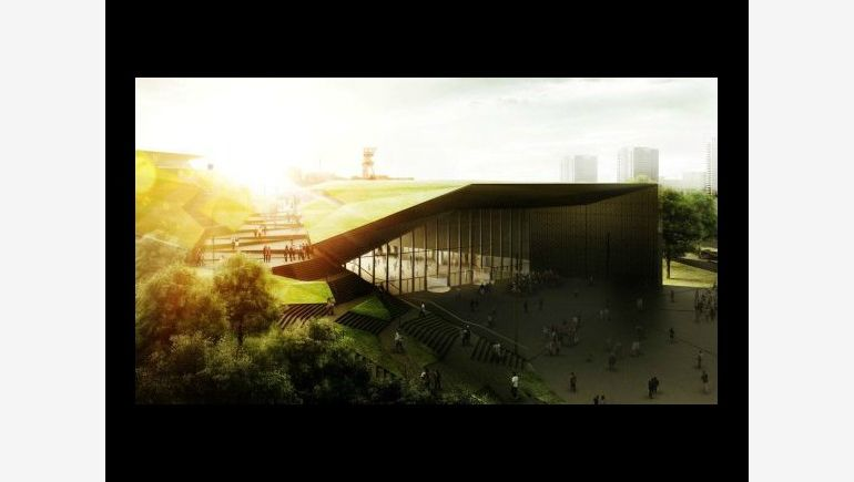 The visualization of theInternational Convention Center in Katowice, based on Warbud's materials.