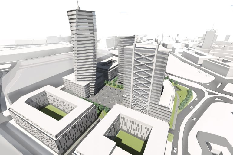 Visualization of the complex, which may be built on the property put up for sale by PKS Poznań