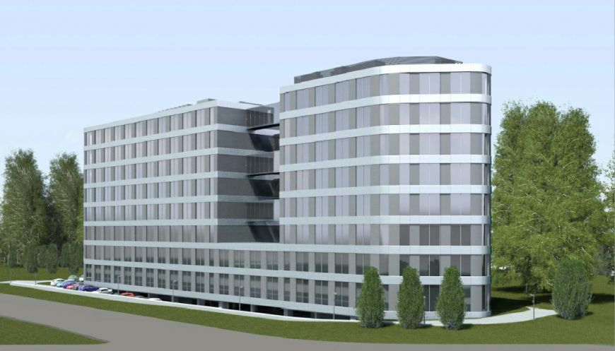 - Visualization of the office building on the crossing of Lublańska and Bora Komorowskiego St.
