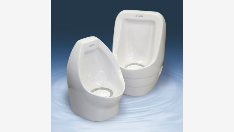 No-flush urinal manufactured by Falcon