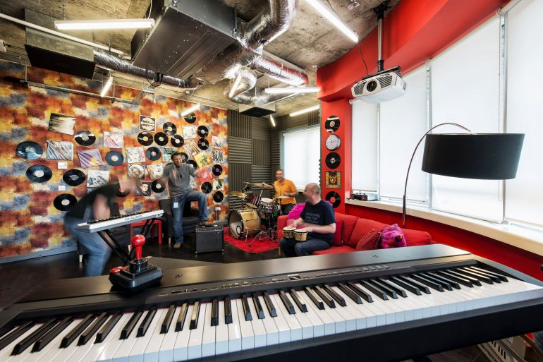 Music room in Google's Dublin seat, photo P. Wurmli