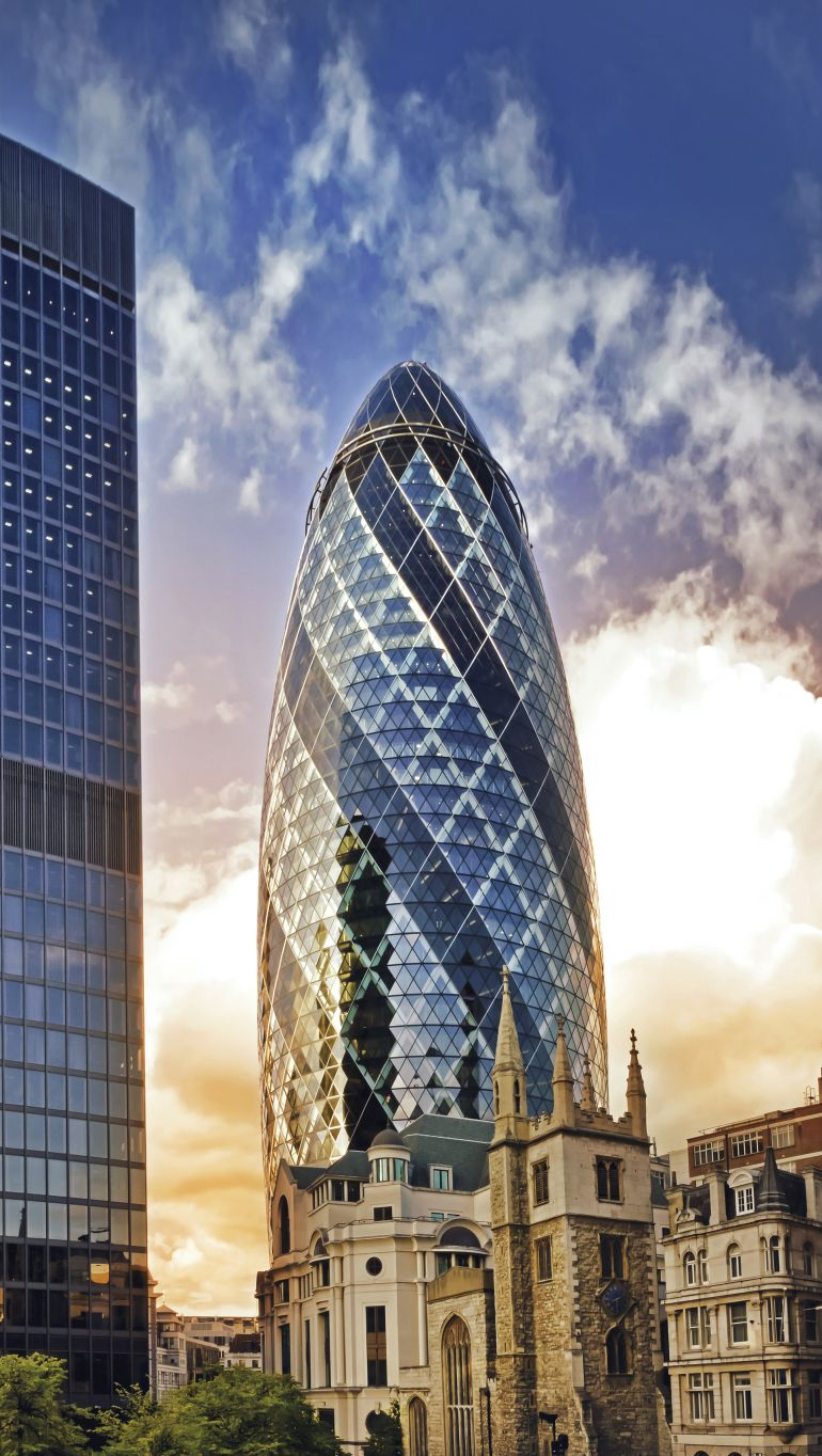 The Gherkin office building is one of the most distinguishable places in London City