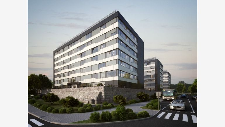 A visualisation of the GPP Business Park complex in Katowice.