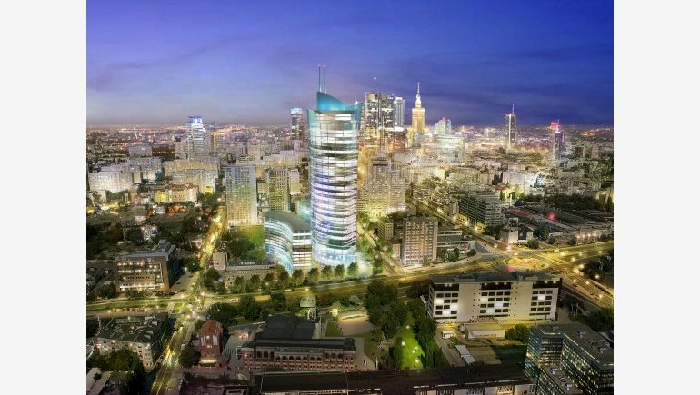 Visualisation of Warsaw Spire, an office block developed by Ghelamco.